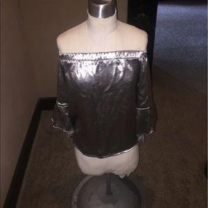 Tops - Metallic off the shoulder top